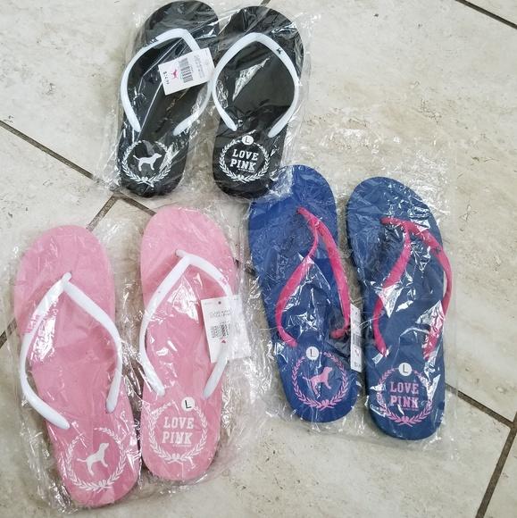 a529a081b0fb5 Victoria Secret Pink Flip flops 3 pairs